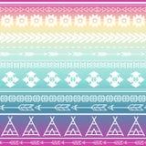 Aztekischer Stammes- nahtloser Mehrfarbenmusterhintergrund Stammes- Design kann für Einladungen, Modegewebe angewandt sein Stockbild