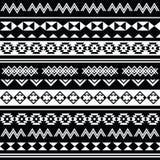 Aztekisches Stammes- nahtloses Schwarzweiss-Muster Stockfotografie