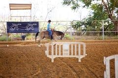 Azufaifas Yakov, Israel - 21 de septiembre de 2016: Lecciones del montar a caballo para los niños Fotografía de archivo