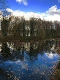 Azuis brilhantes retificam a reflexão alinhada, as nuvens e as árvores refletidas no canal Imagens de Stock