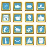 Azuis celestes dos ícones da ação de graças ilustração stock