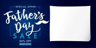 Azuis marinhos da rotulação da bandeira da VENDA da oferta especial de dia de pais ilustração royalty free
