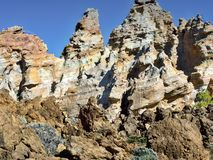 The `Azujelos` on tenerife, colorful rocks in turquoise, rust-red, pink and vanilla in bizarre forms at 2300 m altitude stock photos