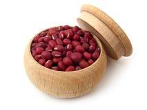 Azuki Bean. (red bean) in wooden pot over white Stock Photo