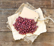 Azuki beans and paper label Stock Image
