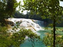 水色Azul瀑布在墨西哥 库存图片