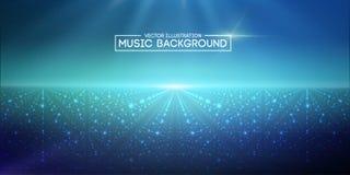 Azul abstracto del fondo de la música El equalizador para la música, mostrando ondas acústicas con música agita, equalizador del  ilustración del vector