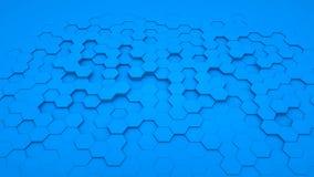 Azul abstracto del hexágono del fondo en perspectiva imagen de archivo libre de regalías