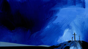 Azul abstracto gráfico de la cruz de Calvary del fondo Imagen de archivo
