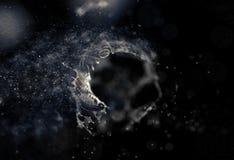 Azul abstracto Mesh Sphere torcido iluminado 3d Muestra de neón Tecnología futurista HUD Element Extracto elegante Fotografía de archivo libre de regalías