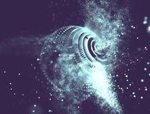 Azul abstracto Mesh Sphere torcido iluminado 3d Muestra de neón Tecnología futurista HUD Element Extracto elegante Foto de archivo