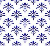 Azul abstracto y blanco del estampado de flores ilustración del vector