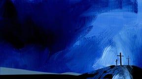 Azul abstrato gráfico da cruz de Calvary do fundo Imagem de Stock