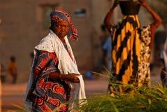 Azul africano y rojo de la mujer Fotografía de archivo libre de regalías