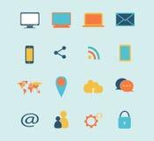 Azul ajustado da ilustração do vetor do ícone dos dispositivos de Digitas Foto de Stock Royalty Free