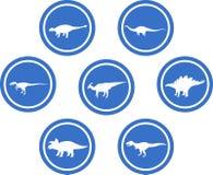 Azul ajustado do emblema redondo do dinossauro Foto de Stock Royalty Free