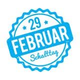 Azul alemão de Schalttag 29 Februar Stempel em um fundo branco Ilustração do Vetor