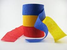 Azul, amarillo, rojo, bobinadores de cintas en modo continuo del partido foto de archivo