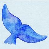 Azul animal da cauda dos peixes da baleia da aquarela Foto de Stock