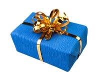 Azul atual da caixa de presente Foto de Stock Royalty Free