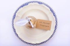 Azul, branco e tabela da ação de graças do ouro Imagens de Stock Royalty Free
