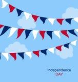 Azul branco vermelho Bunting ajustado EUA das bandeiras Fotografia de Stock Royalty Free