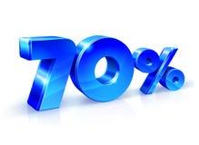 Azul brillante 70 el setenta por ciento apagado, venta Aislado en el fondo blanco, objeto 3D Imágenes de archivo libres de regalías