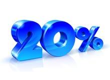 Azul brillante 20 el veinte por ciento apagado, venta Aislado en el fondo blanco, objeto 3D Imágenes de archivo libres de regalías