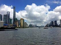 Azul-céu do rio da cena de Shanghai Imagem de Stock