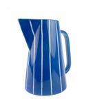 Azul cerâmico e o branco listram o jarro de leite Imagem de Stock Royalty Free