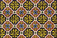 Azul colorido, ouro, e azulejos alaranjados para o fundo I fotografia de stock