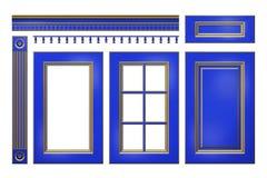 Azul con la puerta del oro, cajón, columna, cornisa para el armario de cocina aislado en blanco ilustración del vector
