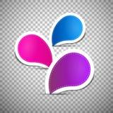 Azul, cor-de-rosa, Violet Empty Labels ilustração stock
