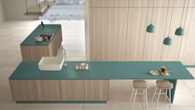 Azul costoso de lujo minimalista y avellanador de madera de la cocina, de la isla, del fregadero y del gas, espacio abierto, piso ilustración del vector