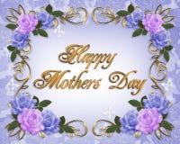 Azul da alfazema das rosas do cartão do dia de matrizes Imagens de Stock Royalty Free