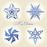 Azul da decoração do vintage dos flocos de neve do Natal Imagens de Stock Royalty Free