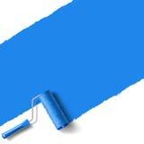 Azul da escova do rolo Foto de Stock Royalty Free