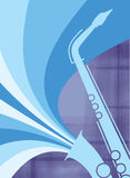 Azul da explosão do saxofone do jazz Foto de Stock Royalty Free