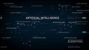 Azul da inteligência artificial das palavras-chaves