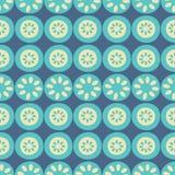 Azul da listra da flor do vetor e fundo sem emenda de creme do teste padrão da repetição ilustração stock