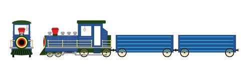 Azul da locomotiva de vapor isolado na ilustração branca do fundo Fotografia de Stock Royalty Free