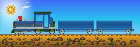 Azul da locomotiva de vapor isolado na ilustração branca do fundo Fotos de Stock