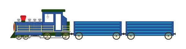 Azul da locomotiva de vapor isolado na ilustração branca do fundo Imagem de Stock Royalty Free