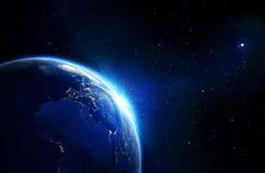 Azul da terra que brilha - horizonte e estrelas ilustração stock