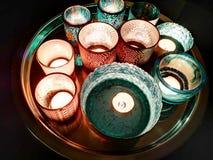 Azul das luzes da vela imagem de stock royalty free