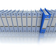 Azul de archivaje y de organización de la información Foto de archivo