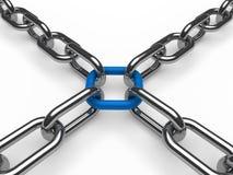 azul de cadena del cromo 3d Imagen de archivo