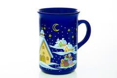 Azul de cielo nocturno taza Año Nuevo Feliz Navidad Hogar y comodidad Imagen de archivo