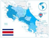 Azul de Costa Rica Map In Colors Of ilustración del vector