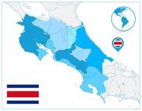 Azul de Costa Rica Map In Colors Of NINGÚN texto stock de ilustración